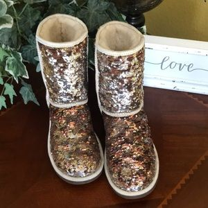 UGG Rose Gold & Silver Reverse Sequin Short Boots
